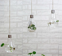 clear glass ornaments - 2015 fashion light bulb shaped glass hanging bulb vases clear air planter terrarium hanging vases for Christmas Ornaments home decor