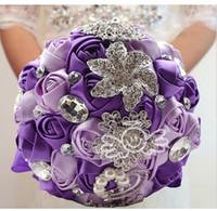 Cheap Luxury Purple Wedding Flowers Bouquets Handmade Rose Pearls & Diamonds Bride Holding Flower Wedding Bridal Bouquet Brooch Flower Favors