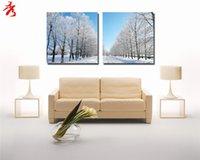 beautiful digital photo frame - Beautiful Winter Snow Scene Trees Canvas Paintings Landscape Pictures Modern Style Abstract Home Decorative Panel Wall Art No Framed Photo