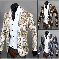 blazer jacket men - 3color M XXL men blazer slim fit men suit Cotton and linen flower cloth color matching leisure jacket suit men