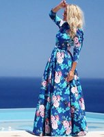 Wholesale Classic Ladies Photos - Newest Hot Sexy Lady Women Fashion Prom Dresses With Floral Print Maxi Dresses Blue Party Evening Long Dress 3002