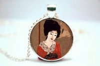 american girl glasses - 10pcs Geisha Girl Necklace Asian Japanese Theme Jewelry Glass Cabochon Necklace
