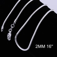 Wholesale 2016 hot mm inch inch Sterling Silver Snake Chain Lobster Clasp Necklace silve snake Chain
