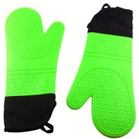 Wholesale 1pair silicone Microwave oven mitts lengthened thick insulation cotton kitchen cooking Baking gloves heat resistant bakeware mitts