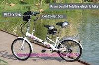 folding electric bicycle - 20 inch v ah folding electric bicycle LiFePO4 Mountain bike Parent child folding electric bike DHL