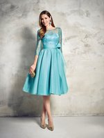 band saw - Elegant Blue Organza Lace Party Dress Christmas Style Bow Waist Band Knee Length Three Quarters Sleeves See Through Custom Made Gowns