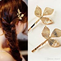 Wholesale Fashion Gold Leaves Hair Cuff Clip Headband Hairpin Barrettes brooch Accessory Goth Punk women girl bride Wedding Hair Jewelry hot