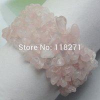 Precio de Chip stone bracelet-Rose salta granos de cuarzo Piedra pulsera del estiramiento 7