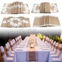 Wholesale Khaki Natural Jute Linen Burlap Table Runner Lace Flower for Wedding Party Decoration Style Available