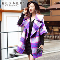 Wholesale Dabuwawa Women s Sweety Elegant Big Lapel Neck Short Lanter Sleeve Purple Blue Plaid Loose Overcoat