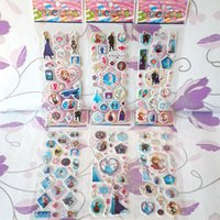 Wholesale 6 style new children girl loved Frozen cartoon characters stickers PVC Three Dimensions high quality decorate the room girl gift