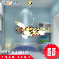 Wholesale Ceiling lights bedroom ceiling fans Military aircraft color LED Iron room boy cartoon children s bedroom chandelier lamp