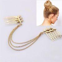 Wholesale FashBridal Headpiece Hotsale Jewelry m Tiara Noiva Wedding Handmade jewelry china Hair Chain Gold Chain Head Accessories