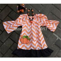 chevron dress - baby girls Halloween orange chevron dress with matching hair bows and chunky necklace set