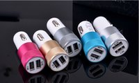 Wholesale Aluminum USB Ports Car Charger A A Dual USB Car Charger For iPhone plus For ipad For Samsung Galaxy S4 S5