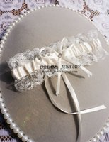 Wholesale Sexy Hot Garters for Wedding Lace Crystal Garter Sets with Bow Boho Style Ivory Stocking Fancy Wedding Bridal Garter Sale