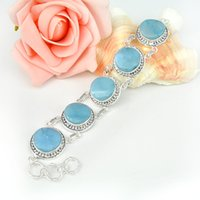 australia silvers - 2 Pieces Special Vintage Round Larimar Gems Sterling Silver Chain Bracelets Russia American Australia Weddings Bangles