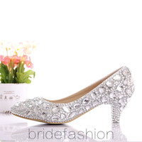 Wholesale Perfect Bride Slipper diamond wedding shoes high heeled shoes wedding photographs dress shoes white wedding shoes pointed shoes
