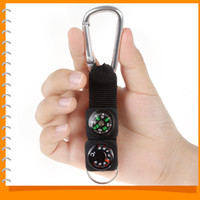 Wholesale 3 in Multifuntional Waterproof Carabiner Mini Compass Thermometer for Outdoor Camping Hiking with Key Ring