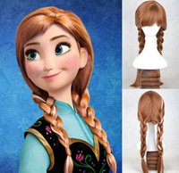 hair weave and wigs - Movies Frozen Snow Queen Anna Wig Synthetic Wigs Weaving Braid Cosplay Wig Animation wigs for Adult and children halloween hair wigs