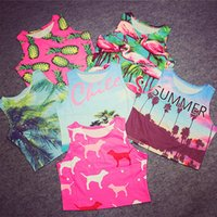 pink flamingos - Fashion Summer Crop Top Pink SUMMER Palm Tree Flamingos Pineapple Print Harajuku Tank Top Ladies AA Style Cropped Tops T07