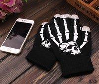 Wholesale LJJH713 LED Ghost Skull Human Skeleton Rave Light Gloves Finger Lighting Flashing Glow Gloves for Hallowmas Christmas Party Clubs