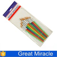 Wholesale 2015 colorful Plastic Handle Round Pointed Tip Paint Brush set for kids paint brushes set for details artist brush