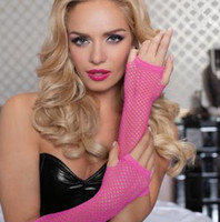 Wholesale Sexy Long Fishnet Gloves Half Finger Mix Color prs B2