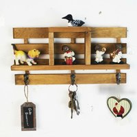 Wholesale Rustic wall shelf storage rack coat key hook kitchen seasoning rack origninal wood walling rack with robe hooks
