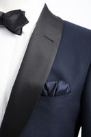 al por mayor solapas de-2016 de la chaqueta de la cena de la solapa negro Los juegos de la boda de la marina de guerra para los hombres / los hombres de encargo delgadan los smokinges aptos de la boda del juego para los hombres (chaqueta + pantalones + Bowtie)
