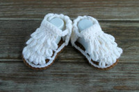 Wholesale White fringed wool crochet baby sandals years old soft soled newborn girl barefoot gladiator baby sandals outlest pair