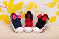 baby dunks - 2015 Autumn Baby Girls Bowknot Printed Canvas Shoes Dunk Low Casual Shoes Scrawl Sweet Girl Children s Cloth Shoes Hook Loop Shoes Hot Sale