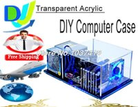 Wholesale DIY PC BX7 ATX Horizontal Bare Frame Half Mask PC Transparent Acrylic water cooling computer case with fixed parts and LED light