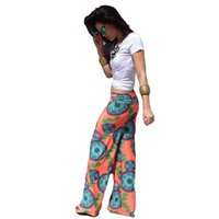 baggy trouses - Plus Size Women Wide Leg Pants Floral Printed Causal Trouses For Women Flare Palazzo Pants Fashion Baggy Pants Women