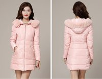 Wholesale 2014 rex rabbit fur collar winter new luxury Obscure lace hooded down jacket and long sections