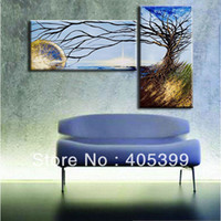 Cheap Free Shipping !! Two Panels Special Real Handmade Modern Abstract Canvas Oil Painting On Canvas Wall Art ,Z031