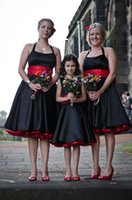 Model Pictures balck tea - Tea Length Bridesmaid Dress Balck And Red Halter Vintage Party Wear A line Plus Size Formal Occasion Short Skirt