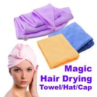 magic towel - Magic Quick Dry Microfiber Hair Towel Hair drying Ponytail Holder Cap Towel Lady Microfiber Hair Towel hat cap E346 High quality