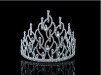 Wholesale 2015 Classic Droplets High Crown Shape Rhinestone Crystal Crown Bridal Tiaras Hair Accessories TS000068