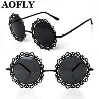 Wholesale Metal Hollow Out Round Sunglasses Women Vintage Retro Sun glasses Fashion Lace Flower Design Decoration glasses oculos S1590
