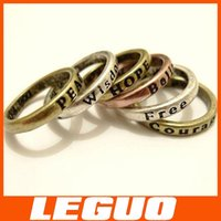 wholesale vintage jewelry - Alloy MAKE WISH carve characters Lady Ring Women PRAY Fashion vintage Love luck etc Rings Finger Rings jewelry Crazy Hot DHL