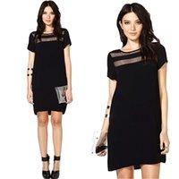 fashion club wear - Summer Fashion Dress High Street Sexy Mesh Lace Chiffon Short Sleeve Black Dresses Women Casual Club Wear G0776