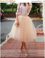 Wholesale 2016 Blush Pink Girls Tulle Skirt A Line Maxi Tulle Skirt For Women Tea Length Cheap Formal Party Cheap Tutu Skirt For Girls