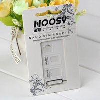 Wholesale 4in1 Noosy Nano Micro SIM Adapter Eject Pin With SIM Card Retail Box for all phone iphone plus Samsung