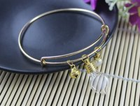 Wholesale 10PCS Alex and Ani Inspired Expandable Gold Bangles With Glass Vials