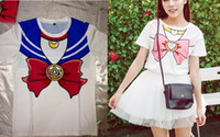 sweet tee shirts - Sweet women teens cartoon short sleeves T shirt tops Tees Japanese anime harajuku Sailor Moon soft cottonT shirt COS custume party gift