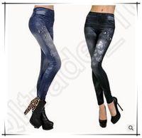 Wholesale 20pcs LJJC3629 High Quality Women Slim Leggings Tattoo Women Leggings Stretchy Pants Gym Leggings Digital Jeans Leggings Lady Jeans Pants