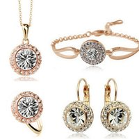 african rivers - Moon River Necklace Earrings Rings Bracelet Sets Korean high grade semi round Austrian crystal Jewelry Sets