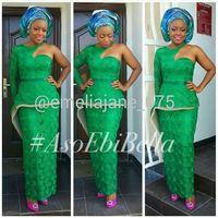 bella greens - One shoulder bella naija Wedding Party Dresses Sleeves Custom Made One shoulder Green Lace Mermaid Aso Ebi Dresses Party Evening for Wedding