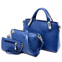 Wholesale 2016 New Arrival Set Women Totes Bags Fashion Classic Alligator PU Leather Designer Handbags Lady s Shoulder Bags And Purse E431
